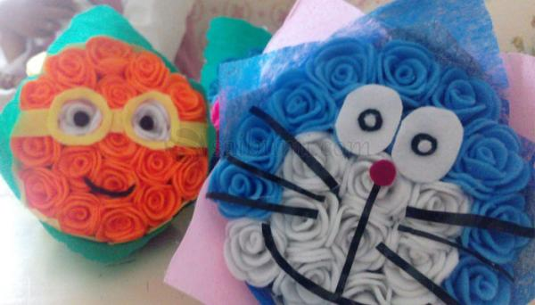 Berikut Langkah Langkah Membuat Bunga Buket Dari Flanel