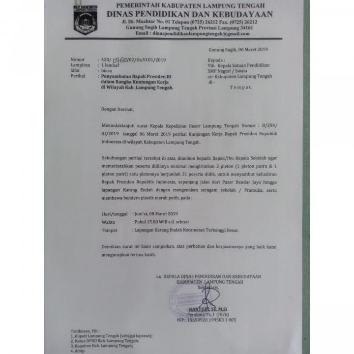 Beredar Surat Perintah Untuk Sambut Kedatangan Jokowi Kadisdik