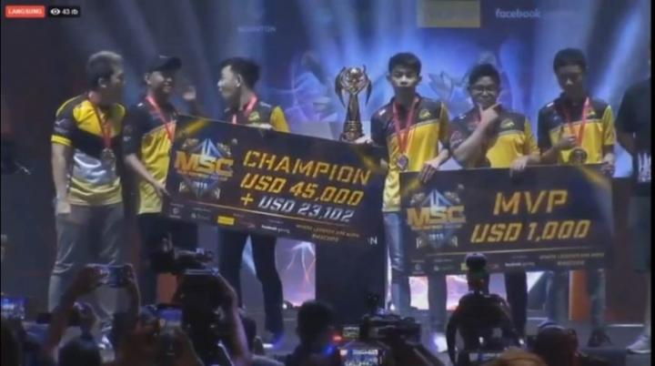 Final MSC 2019, Tim Mobile Legends Onic Esports raih juara. Foto: istimewa/okezone.com
