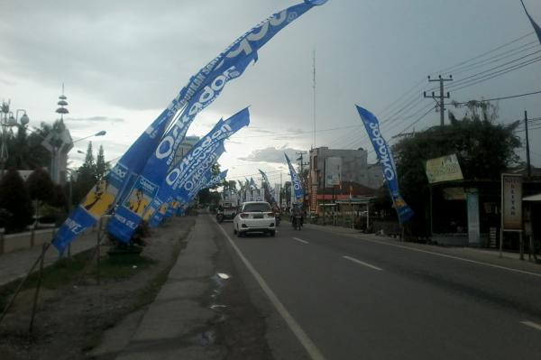 Umbul Umbul Dan Banner Gambar Calon Peserta Pilkada Pringsewu
